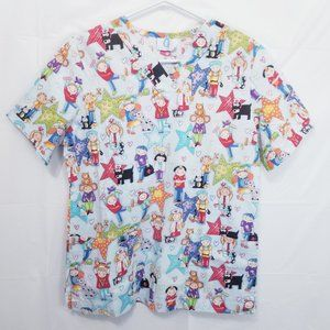 Animated Medical Themed Scrub Top